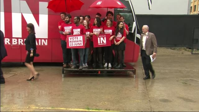 'Labour In For Britain' campaign bus launch ENGLAND London EXT Labour supporters gathered alongside 'Labour In For Britain' campaign bus wearing...