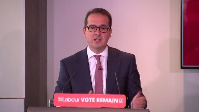 labour vote remain press conference owen smith mp speech sot / angela eagle mp speech sot - owen smith politician stock videos & royalty-free footage