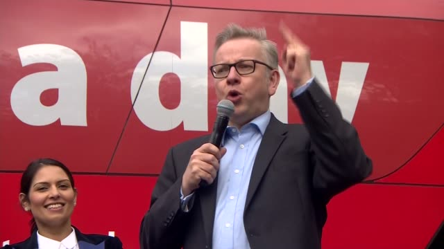 leave boris johnson michael gove priti patel speech in preston england lancashire preston ext 'vote leave' campaign bus arrives / photographers at... - michael gove stock-videos und b-roll-filmmaterial