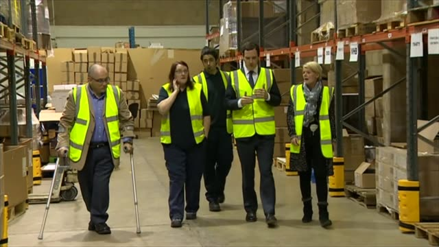 leave campaign proposes new immigration policy essex harlow george osborne mp robert halfon mp and others visiting factory george osborne mp... - oeec video stock e b–roll