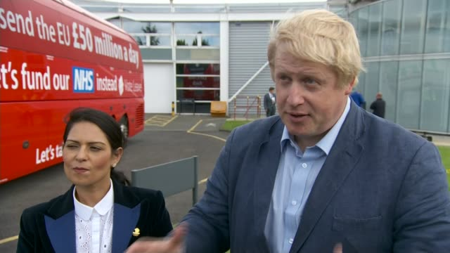 referendum campaign: leave campaign proposes new immigration policy; accrington: boris johnson mp interview sot - the government of the day, post... - boris johnson stock videos & royalty-free footage
