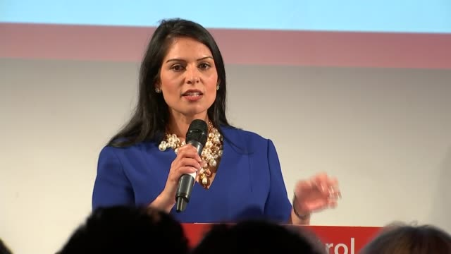 leave campaign rally speeches england east london int priti patel mp speech sot - priti patel stock-videos und b-roll-filmmaterial