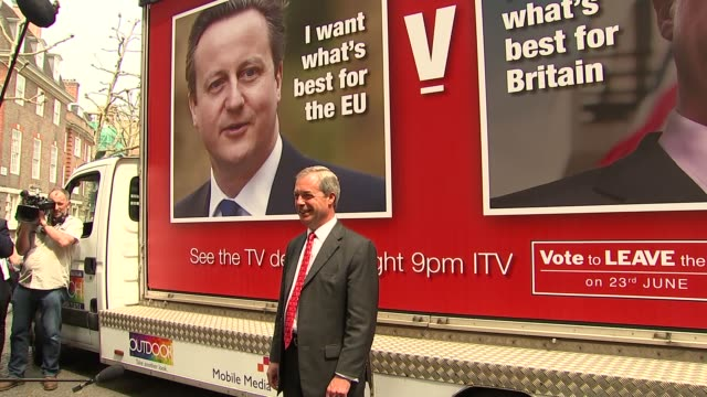 Leave UKIP Farage poster launch ENGLAND London Smith Sq EXT Poster lorry turns up with large hoarding advertising Farage debate with Cameron tonight...