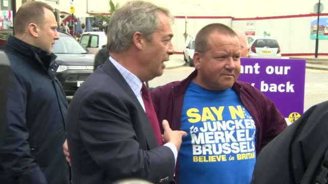 nigel farage campaigning in ramsgate ukip supporters with signs 'we want our country back vote to leave' / nigel farage mep chatting to people /... - ramsgate stock videos and b-roll footage