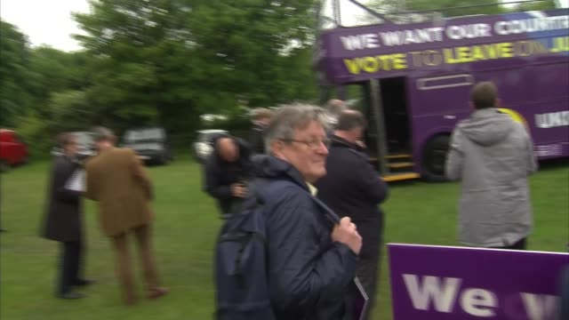 nigel farage in rotherham farage speaking from top of bus sot / nigel farage interview sot / farage posing for photocall / farage posing for selfie... - referendum stock videos & royalty-free footage