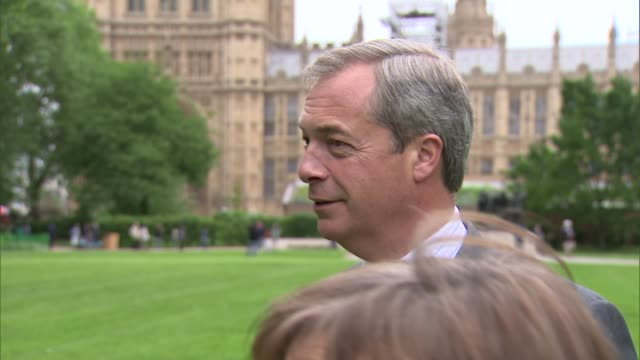 Nigel Farage interview ENGLAND London Westminster EXT Nigel Farage interview SOT On service sector jobs / we're very close to another euro meltdown /...