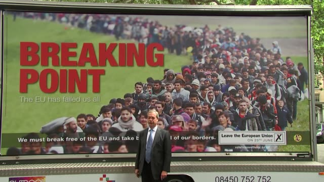 vídeos de stock, filmes e b-roll de nigel farage says jo cox murder is being used to smear the leave campaign 16th june 2016 london ext various of farage at launch of controversial... - poster