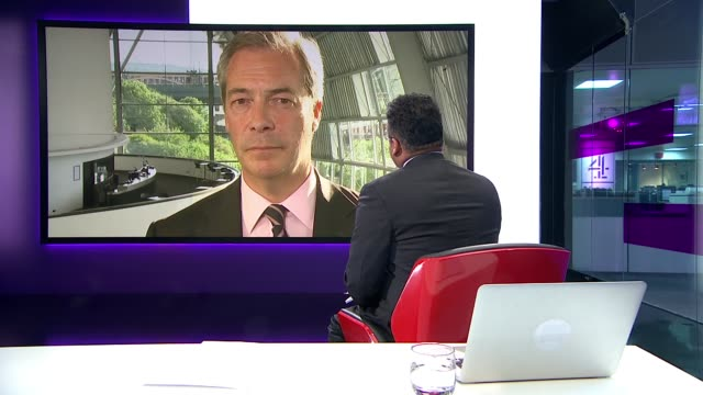 nigel farage says jo cox murder is being used to smear the leave campaign england london gir int nigel farage mep live 2way interview from gateshead... - クリシュナン・グルマーフィ点の映像素材/bロール