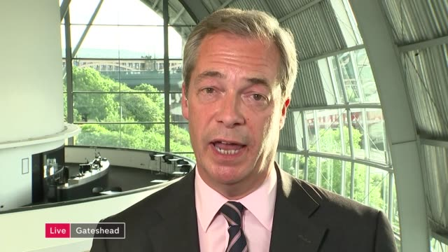 referendum campaign: nigel farage says jo cox murder is being used to smear the leave campaign; gir: int farage live 2-way interview from gateshead... - jo cox politikerin stock-videos und b-roll-filmmaterial