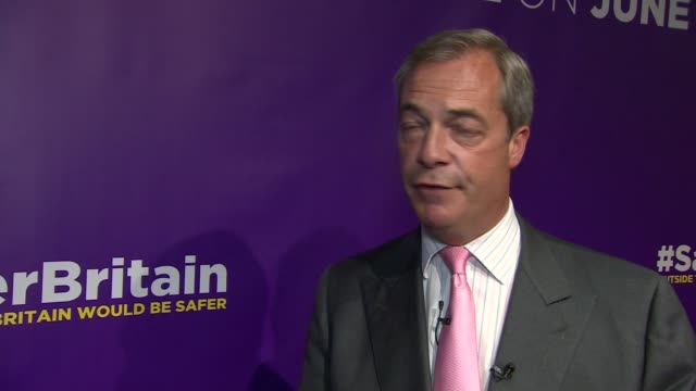 Nigel Farage speech and interview Nigel Farage MEP interview SOT On net migration figures / immigration and GDP figures / our quality of life has...