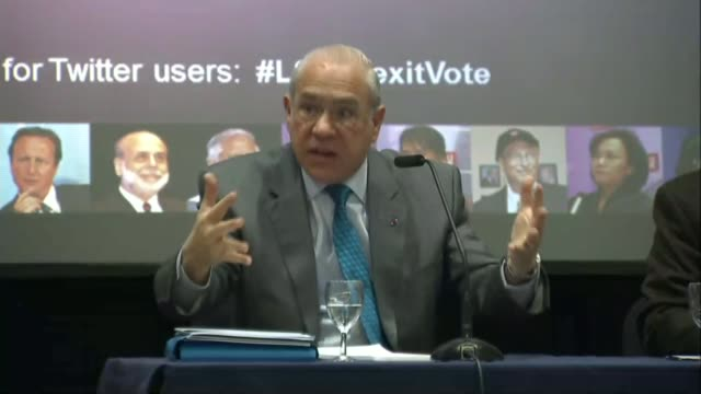 oecd and 6 trade unions add support to remain campaign england london london school of economics int angel gurrãa speaking at press conference sot... - oeec video stock e b–roll