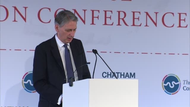referendum campaign: philip hammond speech; england: london: int philip hammond mp speech sot - 2016 european union referendum stock videos & royalty-free footage