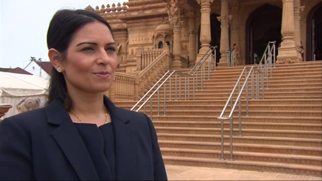Priti Patel visits Hindi temple in Wembley EXT Priti Patel MP interview SOT On Sarah Wollaston switching sides in EU referendum campaign /...