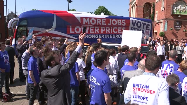 referendum campaign: remain event at the oval; england: london: kennington: the oval: ext daviod camern mp , harriet harmen mp , tim farron mp and... - oval kennington stock videos & royalty-free footage