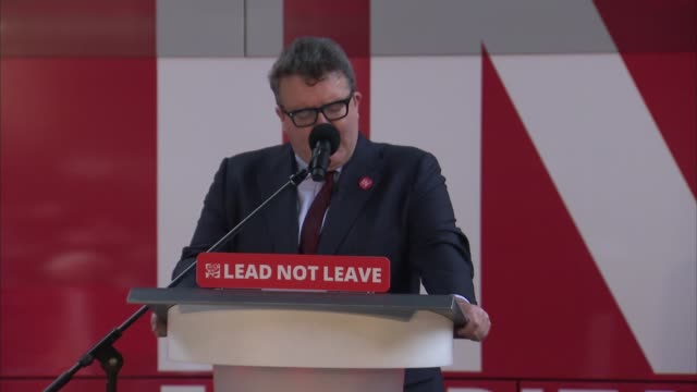 referendum campaign: remain: tom watson speech to labour 'in' rally; tom watson speech continued sot/ tom watson photocall on stage with gary kemp,... - emily berrington stock videos & royalty-free footage