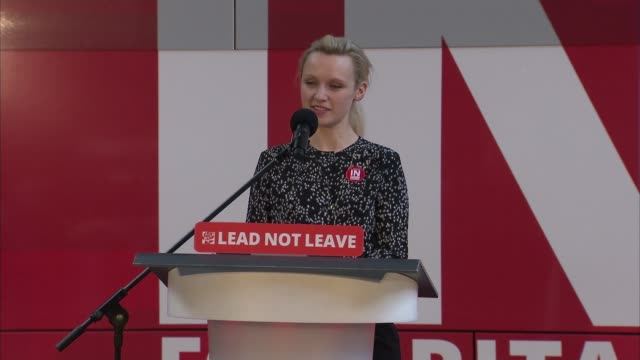 referendum campaign: remain: tom watson speech to labour 'in' rally; england: london: kings cross: int tom watson mp boarding 'labour remain' bus/... - emily berrington stock videos & royalty-free footage