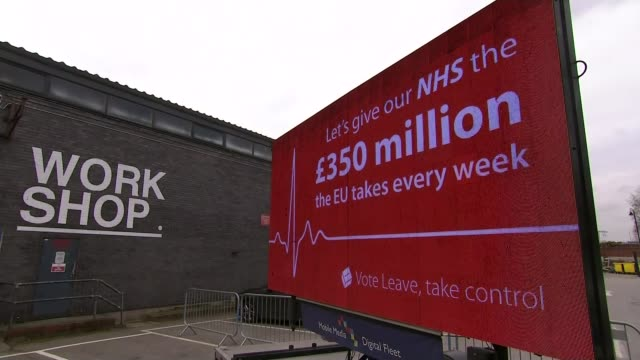 report into push polling LIB Manchester EXT 'Leave' billboard with slogan 'Let's give our NHS the 350 million the EU takes every week' Interview...