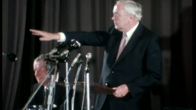 vídeos y material grabado en eventos de stock de theresa may speech gives halfhearted support to the remain campaign tx location unknown then prime minister harold wilson mp speaking during eec... - 1975