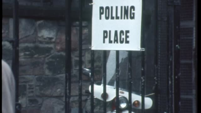theresa may speech gives halfhearted support to the remain campaign tx polling station entrance during the eec referendum various of then prime... - 1975 stock videos & royalty-free footage