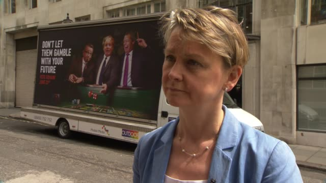 tom watson and yvette cooper interviews / vote remain poster van yvette cooper interview sot on case for staying in europe / labour vote / vote... - stationary stock videos & royalty-free footage