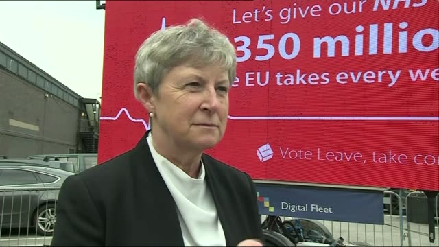 vídeos y material grabado en eventos de stock de vote leave poster launch / gisela stuart interview gisela stuart mp interview sot â£350 million a week goes to brussels and we should spend it on the... - semana