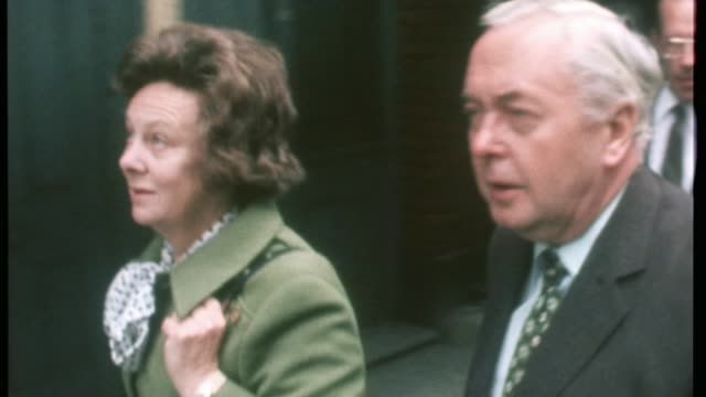 referendum campaign: voting nears a close; harold wilson along with wife margaret thatcher with husband outside polling station edward heath outside... - referendum stock videos & royalty-free footage