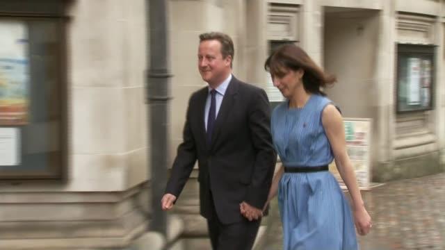 referendum campaign: voting nears a close; london: david cameron mp and samantha cameron along to vote islington: jeremy corbyn mp london: michael... - mep stock videos & royalty-free footage