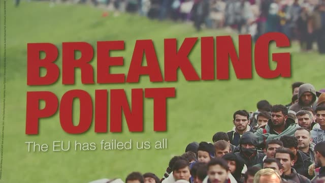 campaigns re-started following jo cox death / row over immigration poster; 16th june 2016 england: london: ext various of nigel farage mep standing... - poster stock-videos und b-roll-filmmaterial