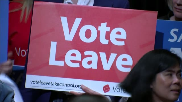 """campaigns re-started following jo cox death / row over immigration poster; int boris johnson mp at podium during leave campaign event placard """"take... - poster stock videos & royalty-free footage"""