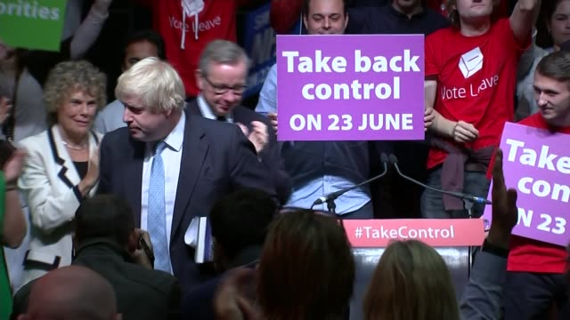 campaigns restarted following jo cox death / row over immigration poster london int boris johnson and michael gove at 'leave' rally pull out - boris johnson stock-videos und b-roll-filmmaterial