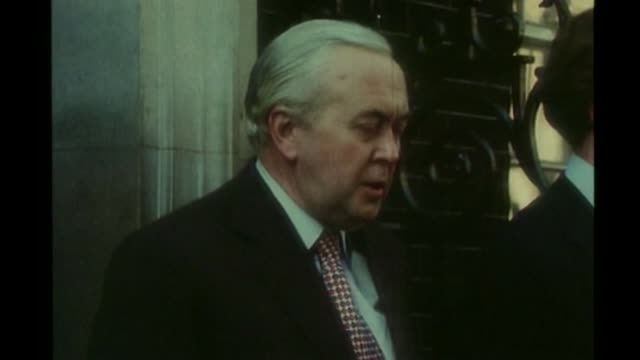 david cameron allows ministers to campaign for either side 561975 england london number 10 ext harold wilson mp speaking to press sot britain shall... - harold wilson stock-videos und b-roll-filmmaterial