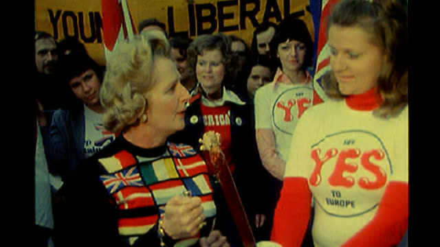 david cameron and nick clegg launch separate campaigns 1975 ext margaret thatcher photocall wearing jumper made up of european flags during 'yes'... - referendum stock-videos und b-roll-filmmaterial