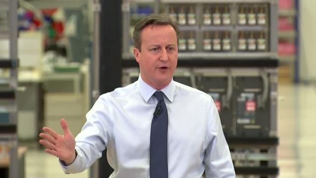 david cameron defends draft reform deal; wiltshire: chippenham: siemens rail automation headquarters: int david cameron mp speech sot - we have four... - チッペナム点の映像素材/bロール