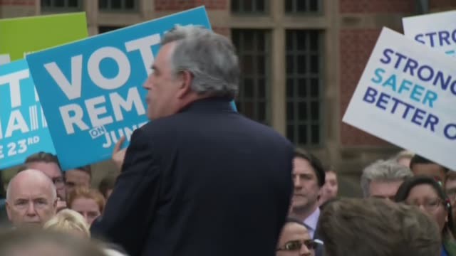 final day of campaign: david cameron addresses remain rally in birmingham; gordon brown speech sot - referendum stock videos & royalty-free footage