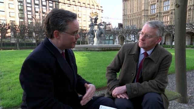 hilary benn interview london ext jubilee fountain sculpture in new palace yard with big ben clock tower in background unicorn statue at fountain... - hilary benn stock-videos und b-roll-filmmaterial