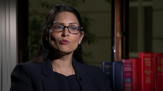 impact on the nhs int priti patel mp set up shots with reporter / interview sot dave prentis set up shots with reporter / interview sot - priti patel stock-videos und b-roll-filmmaterial