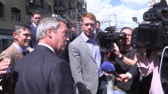 interview farage and leave / in flotilla gvs england london river thames ext nigel farage along towards boat / farage interview sot / farage speaking... - flotilla stock videos & royalty-free footage