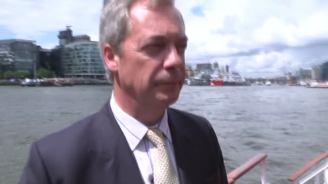 Interview Farage and Leave / IN flotilla GVs Rival 'IN' boat along river disrupting Farage's Leave flotilla / IN flotilla playing pop song over...