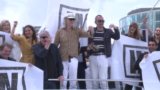 interview farage and leave / in flotilla gvs various of nigel farage standing on deck on 'leave' flotilla boat as remain flotilla alongside blasts... - flotilla stock videos & royalty-free footage