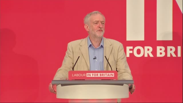 jeremy corbyn eu speech jeremy corbyn mp speech sot jokes about '1984' being set in senate house welcome the referendum eu has brought jobs and... - european union stock videos & royalty-free footage