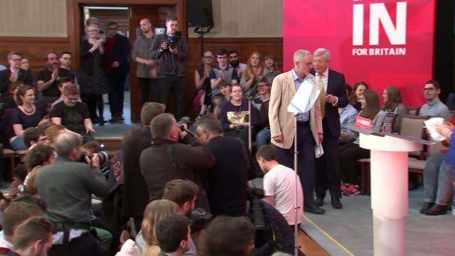 jeremy corbyn eu speech / reaction england london int jeremy corbyn mp and alan johnson mp along both confused as to where to sit before finding... - european union stock videos & royalty-free footage