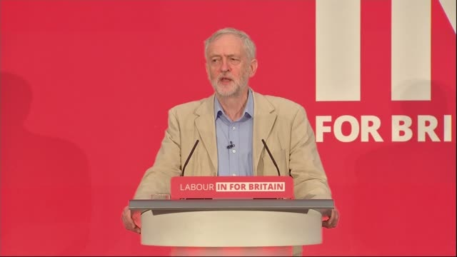 jeremy corbyn eu speech / reaction ***beware jeremy corbyn mp speech sot the labour party is overwhelmingly for staying in because we believe the eu... - stationary stock videos & royalty-free footage