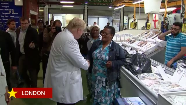 last day of campaign; england: london: billingsgate fish market: ext boris johnson mp wearing white coat as along on tour of fish market johnson... - 2016 european union referendum stock videos & royalty-free footage