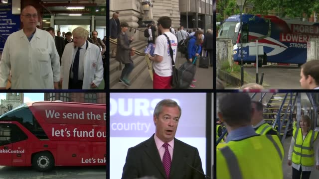 last day of campaign graphicised sequence eu and uk flags as split screen of leave and remain campaigners out and about on last day of eu referendum... - last day stock videos and b-roll footage