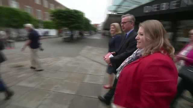 last day of campaign hampshire portsmouth ext michael gove mp walkabout on shopping street with penny mordaunt mp and others/ michael gove interview... - last day stock videos and b-roll footage