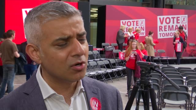 Last day of campaign in London King's Cross Sadiq Khan interview SOT He's forgotten his experiences as mayor / I speak to chief executives employers...