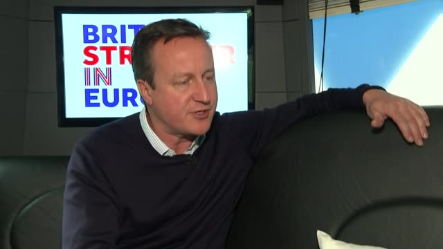 last day of campaign int bus david cameron mp interview sot that's why i'm going around the country still getting this message across a strong... - last day stock videos and b-roll footage