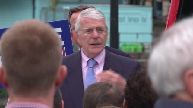 last day of campaign john major speaking with david cameron beside swindon workmen on construction site with 'swindon' graphic overlaid cameron along... - last day stock videos and b-roll footage