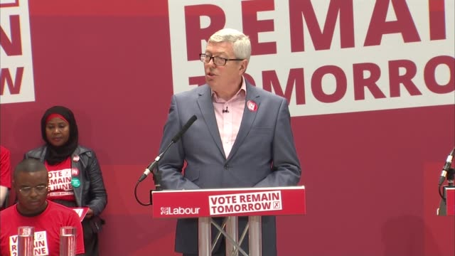 last day of campaign labour remain rally in king's cross england london king's cross int alan johnson mp speech to rally sot/ labour remain campaign... - alan johnson stock videos & royalty-free footage
