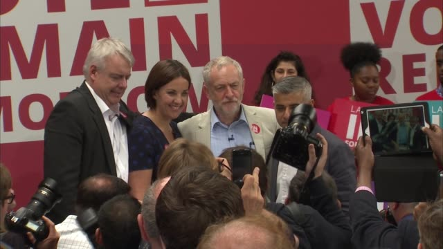 last day of campaign labour remain rally in king's cross jeremy corbyn sadiq khan carwyn jones and kezia dugdale stand together on stage for... - music stand stock videos and b-roll footage
